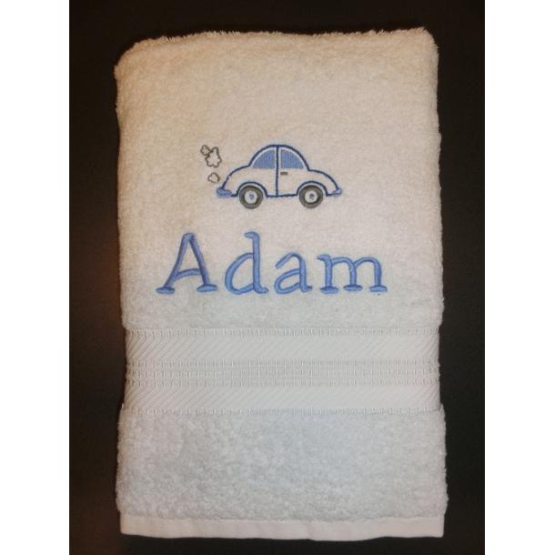 Badehåndklæde med broderet navn og motiv
