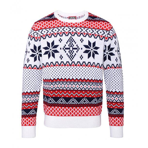 Striksweater med vintermotiv - UDSALG SPAR KR. 150,-